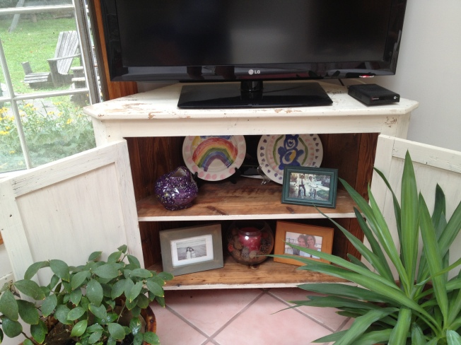 Repurposed Corner Cupboard TV Stand